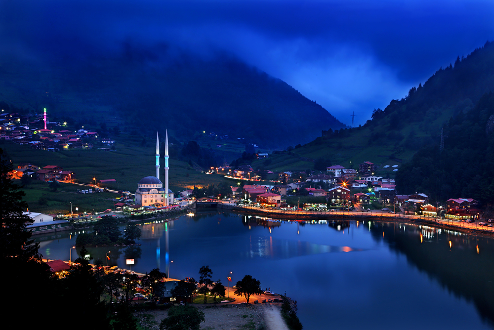 Night view of  a Pontic mountain village near Trebizond
